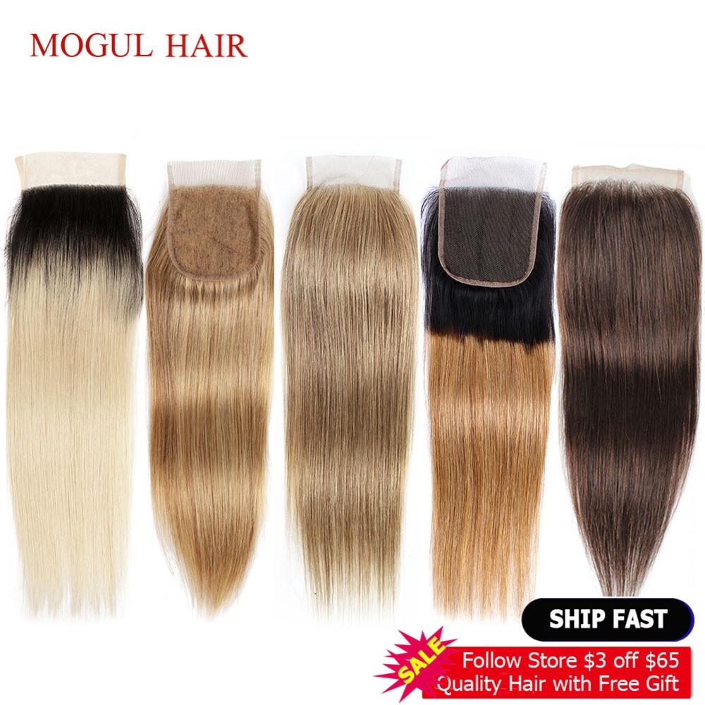 MOGUL HAIR Color 2 Dark Brown Remy Human Hair Closure Peruvian Straight Hair 4*4 Lace Closure Ombre Honey Blonde Natural Black