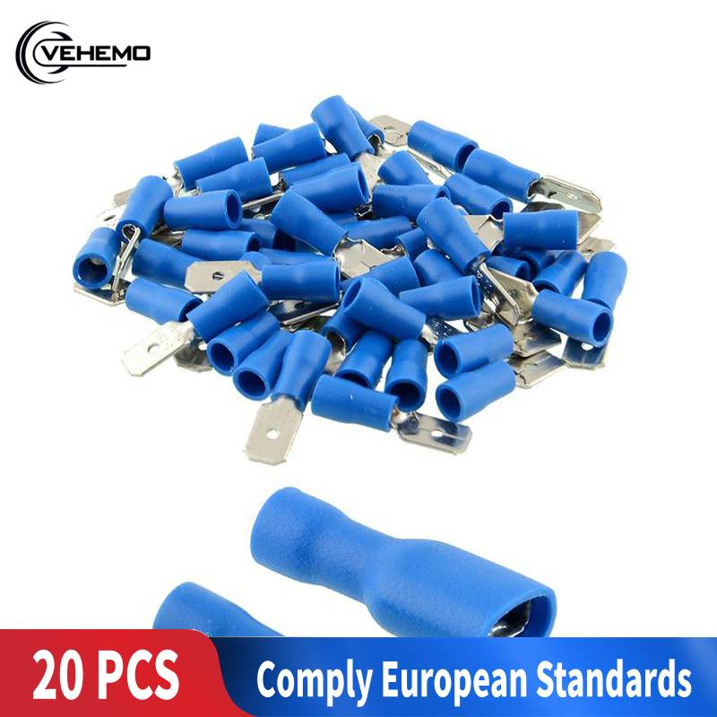 20 Pcs Insulated Electrical Crimp Terminals Set Blue Male/Female Terminals Connectors Kit Quick Spade Wire Connector Car-styling