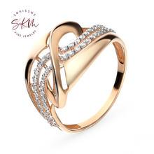 Кольца skm в форме цветка с муассанитом 14 к 18 К кольца из