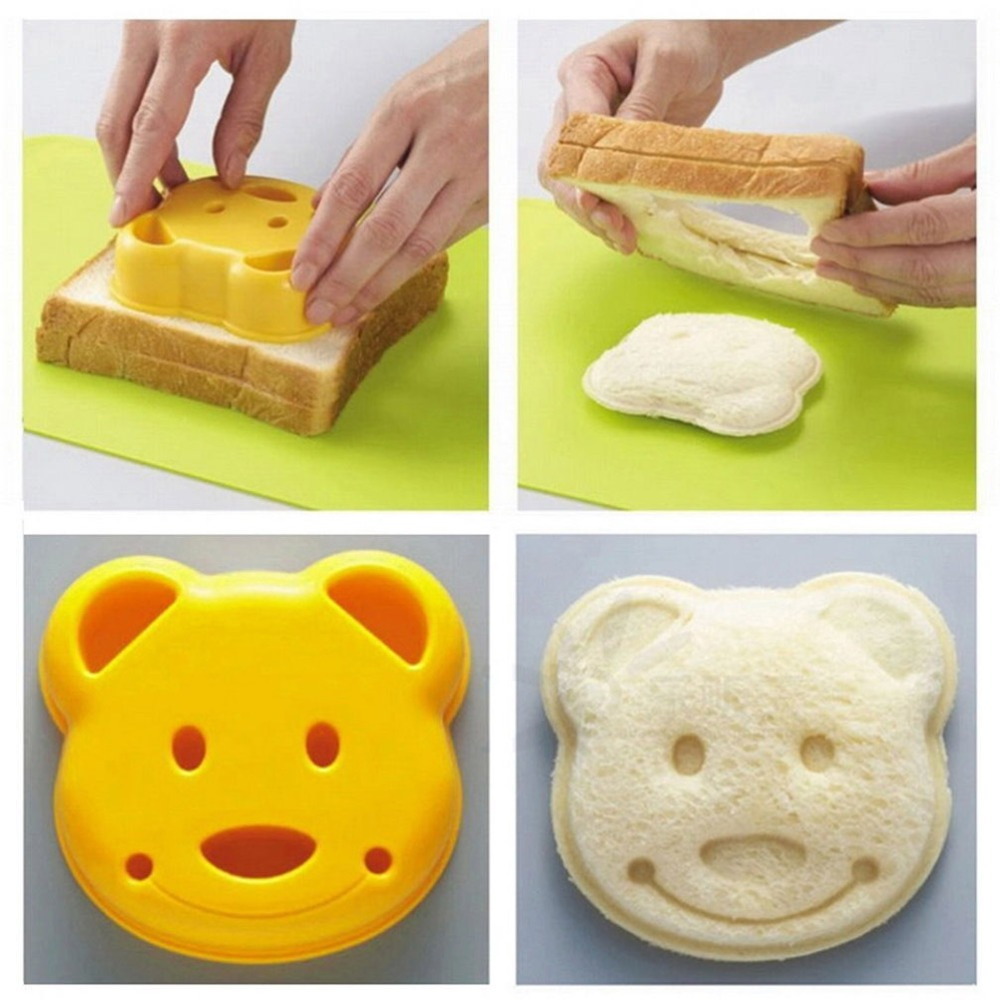 Cute 1pcs DIY Sandwich Mold Cutter Little Bear Shape Sandwich Mold Bread Cake Mold Maker Creative Tool kitchen