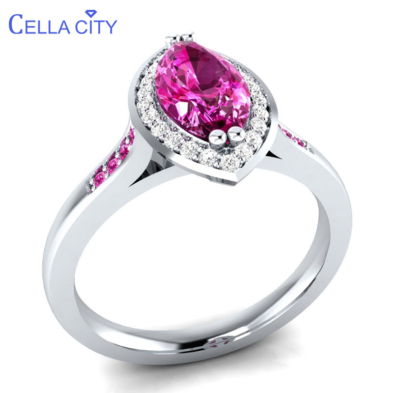 Cellacity Pink Crystal Ring For Women Silver 925 Jewelry With Gemstones Olive Shape Individual Character Female Rings Engagement