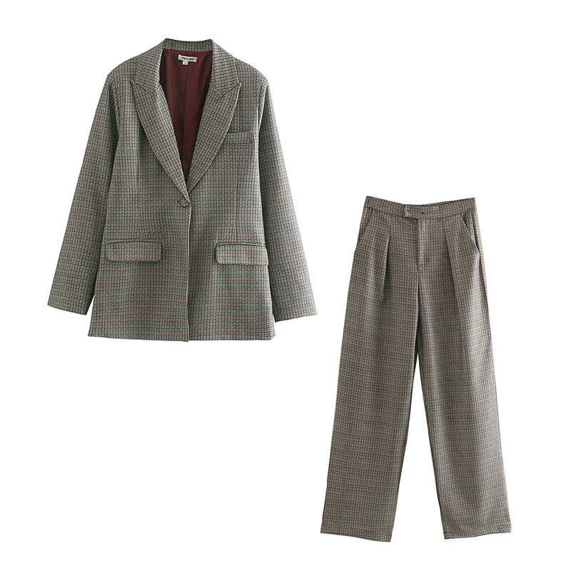 2019 Autumn And Winter Temperament Women's Suit Plaid Pants Set Fashion Long Ladies Jacket Small Suit Casual Trousers Set Of Two