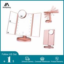 Espejo de maquillaje ligero con 22 LED, Espejo de tocador plegable con 2/3/10X aumentos, Espejo de mesa con atenuación táctil y rotación de 180 grados