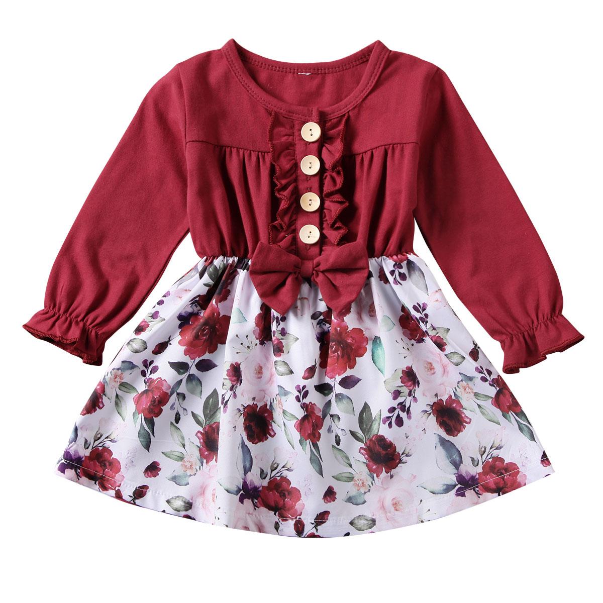 Платье принцессы с бантом для маленьких девочек; праздничное платье-пачка с длинными рукавами; одежда