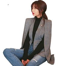 Vrouwen OL Mantel Blazer Notched Split Mantel Cape Jas Pak vrouwen Blazer OL Office Workwear Plaid Grijs Zwart(China)