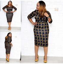Slim hip African clothing features digital print sleeves with the same color big belt fashion elegant office ladies dress  sexy