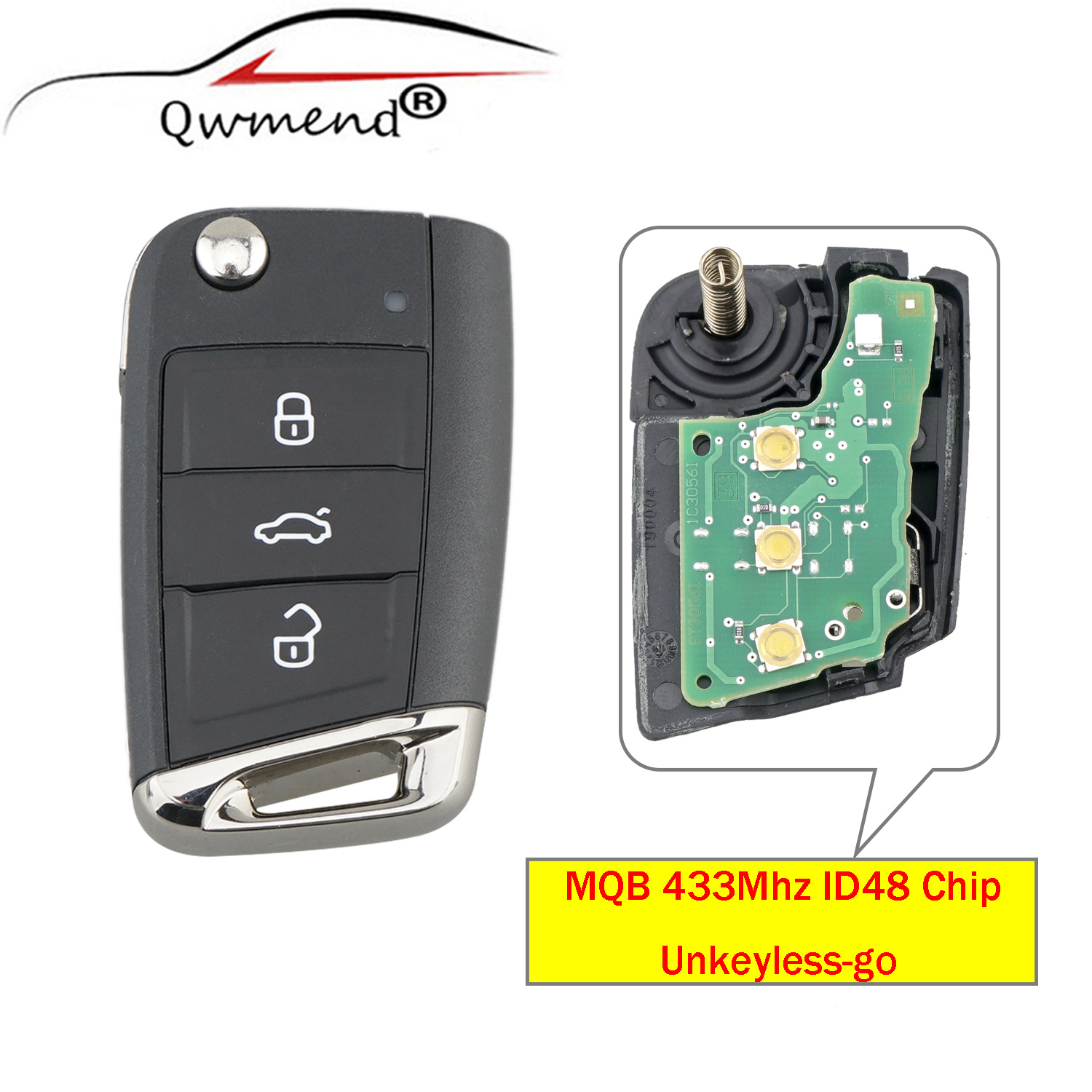 QWMEND Half Smart Option <font><b>Remote</b></font> <font><b>Key</b></font> Fob 434MHz with ID48 Chip for Volkswagen MQB For <font><b>Golf</b></font> VII <font><b>Golf</b></font> <font><b>7</b></font> MK7 Skoda Octavia A7 2017 image
