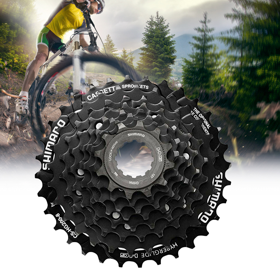 For MTB Shimano CS-HG200-8 8 Speed Mountain Bike Bicycle Cassette 12-32T Black