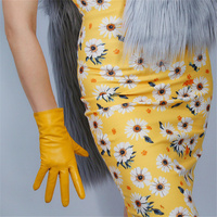 Genuine Leather Gloves 25cm Short Goatskin Female Models Thin Velvet Lined With Ginger Yellow Bright Yellow JH-S00193