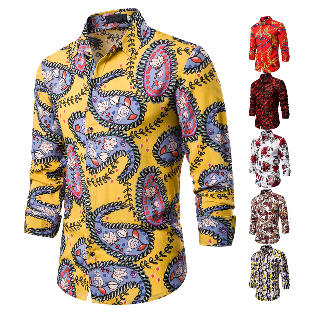 Casual Beach Entertainment Daily Banquet Party Fashionable Long-sleeved Man Shirt