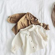 Детская одежда в Корейском стиле; сезон весна-осень; Милая рубашка с отложным воротником в художественном стиле для девочек