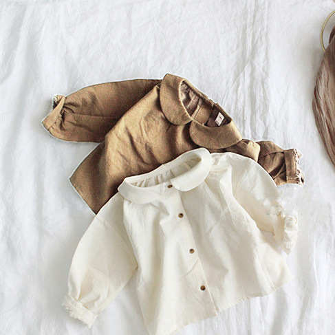 2019 Korean Children's Wear Spring And Autumn Girls Cute Little Literary Style Wrinkled Doll Collar Tied Shirt