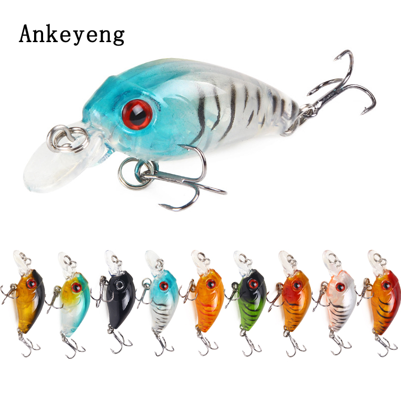 Ankeyeng  Mini Crankbait 4.5cm 3.5g Chubby Spinner Topwater Crankbait Artificial Hard Bait Wobblers Minnow Fishing Lures