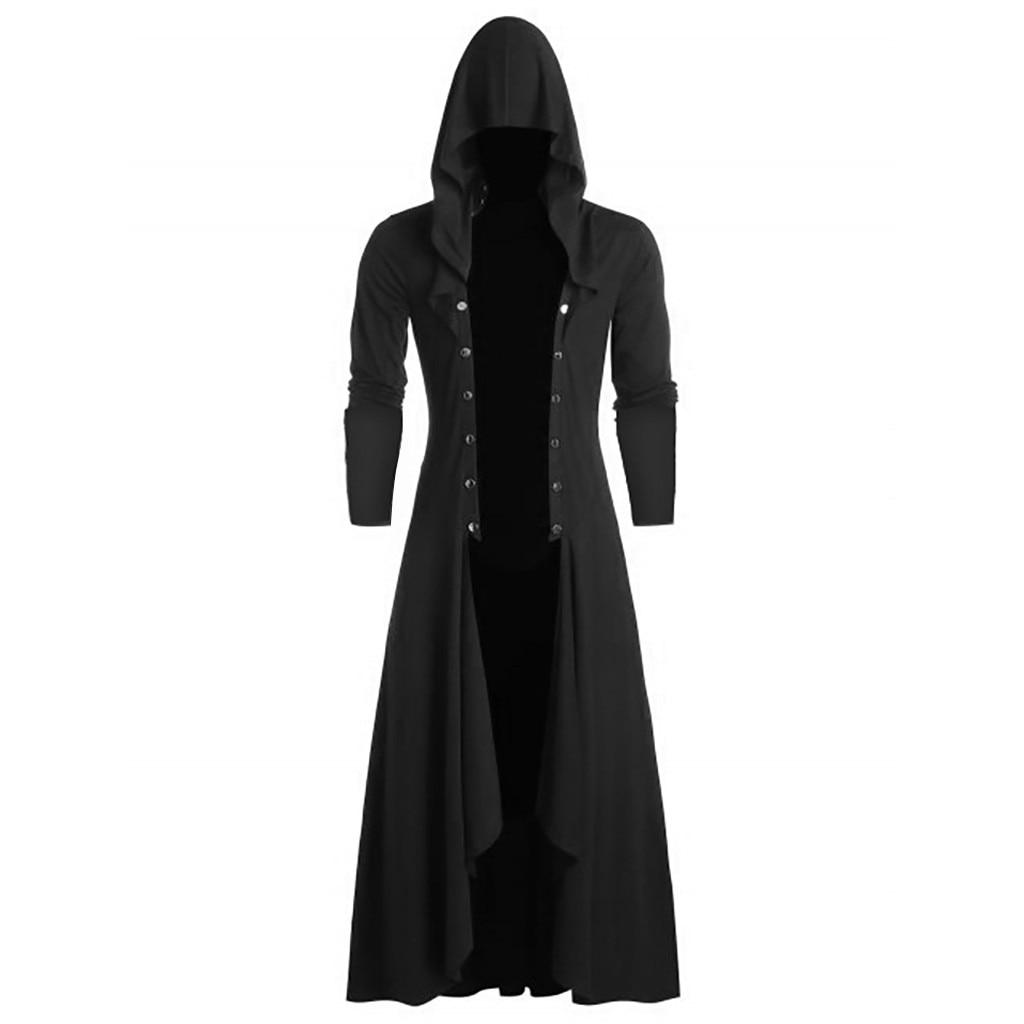 H811298fdb3344a6184947c43ff800336v Men's Trench Retro Steam Punk Gothic Wind Cloak Coat Black Solid Casual Summer Plain Cap Cardigan Business Long Sleeve Coat Men
