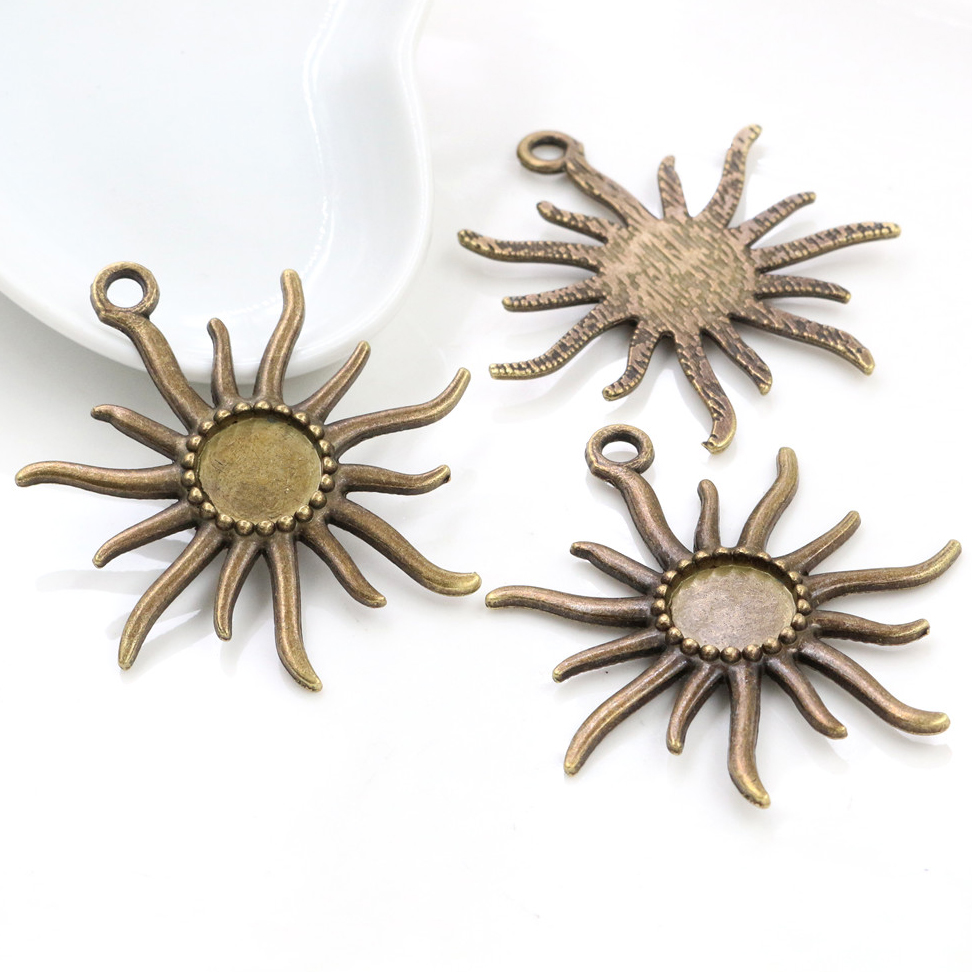 8pcs 12mm Inner Size Antique Bronze Fashion Style Cabochon Base Cameo Setting Charms Pendant (A7-32)