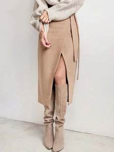 Office-Skirts Lace-Up-Wrap Irregular-Slit Brown Suede Warm Autumn Thick Winter Womens