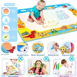 Image 2 - 110x78cm büyük boy boyama su çizim matı boyama yazı Mat Doodle sihirli kalem ile çocuklar için eğitici oyuncaklar halı hediye