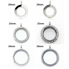 10pcs 20mm 25mm 30mm 316L stainless steel + glass floating locket clear rhinestone locket for floating locket memory charms