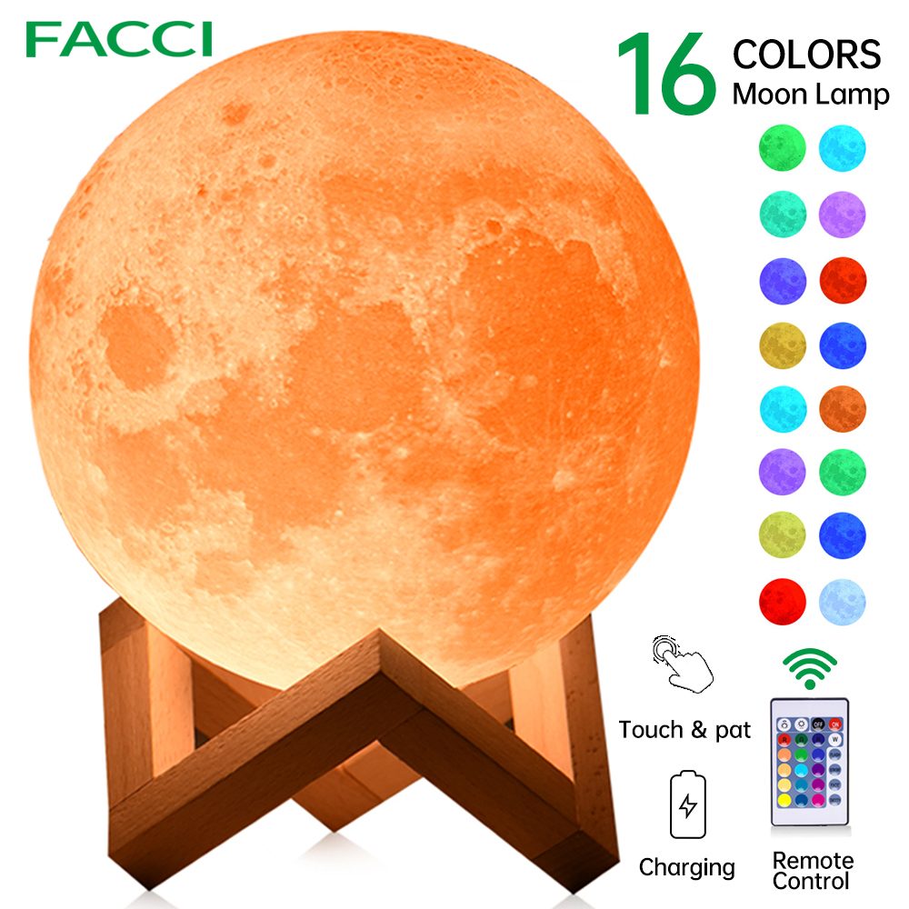 FACCI 16/3 Colors Night Light 3D Print Rechargeable Moon Lamp Luminaria LED Touch Light Children's gift Night Lamp for Home