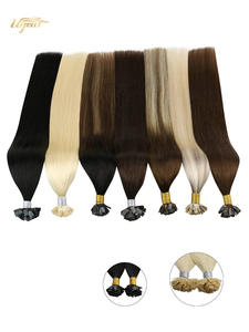 Ugeat Hair-Extensions Human-Hair-Machine Flat-Tip Pre-Bonded Remy-Hair Natural Straight
