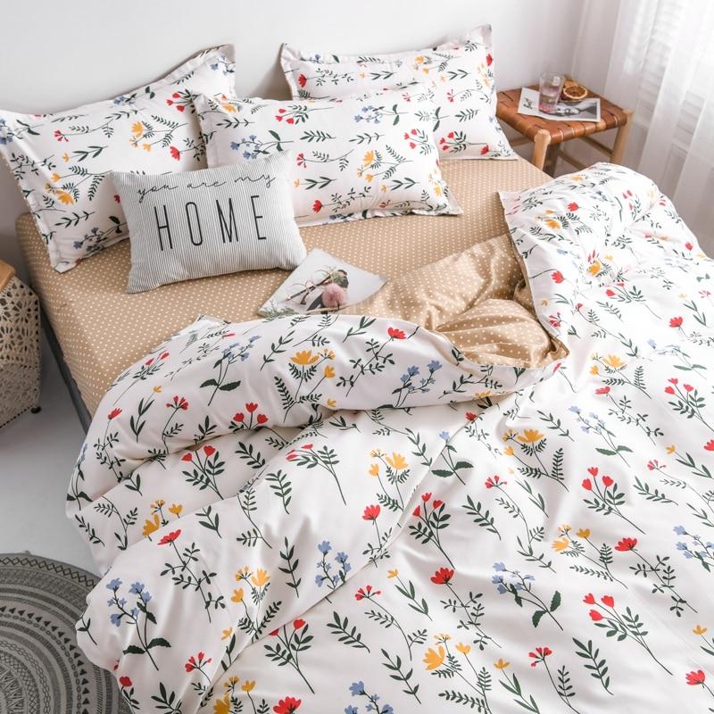 Spring Bedding Set Summer Flower Duvet Cover Set Pastoral Style Peaches Bed Linen Sheet Daisy Bed Set 3/4pcs Home Bedding Green
