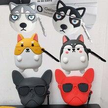 3D Cartoon Kühlen Brille Bulldog Alaskan Hund Husky Corgi Fall für Apple Airpods 1 2 Drahtlose Kopfhörer Abdeckung Welpen Lade box