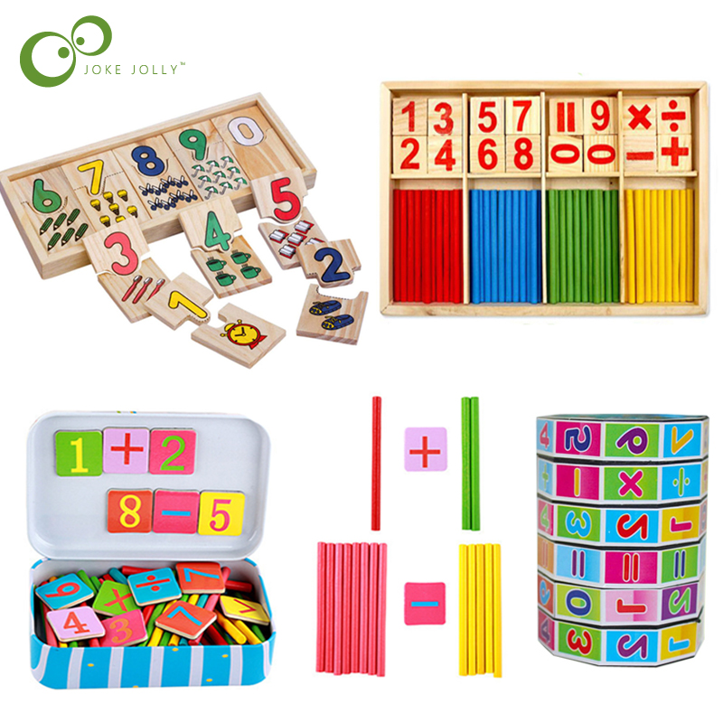 Hot Selling Baby Education Toys Montessori Box Digital Clock Math Toy Number digital Counting Wood Stick Baby Kids Toy Gifts ZXH(China)