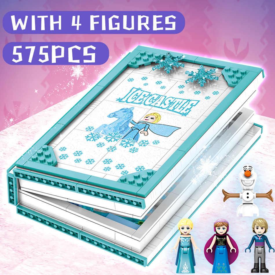HUIQIBAO 575 قطعة ملكة الثلج ماجيك كتاب ألعاب مكعبات البناء فتاة أصدقاء قصر الجليد القلعة الأميرة أرقام الطوب الاطفال الهدايا لعبة