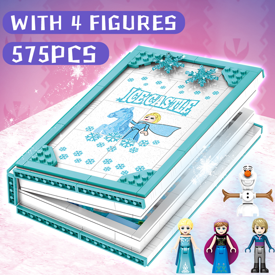 Image 5 - HUIQIBAO 575Pcs Snow Queen Magic Book Building Blocks Toys Girl Friends Palace Ice Castle Princess Elsa Anna Figures Bricks KidsBlocks   -