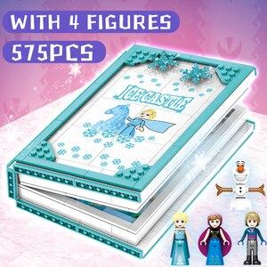 Image 5 - HUIQIBAO 575Pcs 스노우 퀸 매직 도서 빌딩 블록 장난감 여자 친구 궁전 얼음 성 공주 인물 벽돌 아이 선물 장난감