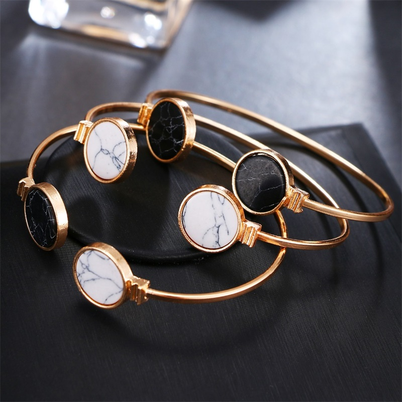 Fashion Charm Bangles Opening Adjustable Women's Geometric Round Black and White Marbles Bangles & Bracelets