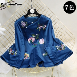 2020 traditional chinese shirt clothing for women embroidery qipao elegant blouse vintage cheongsam satin top ladies clothes
