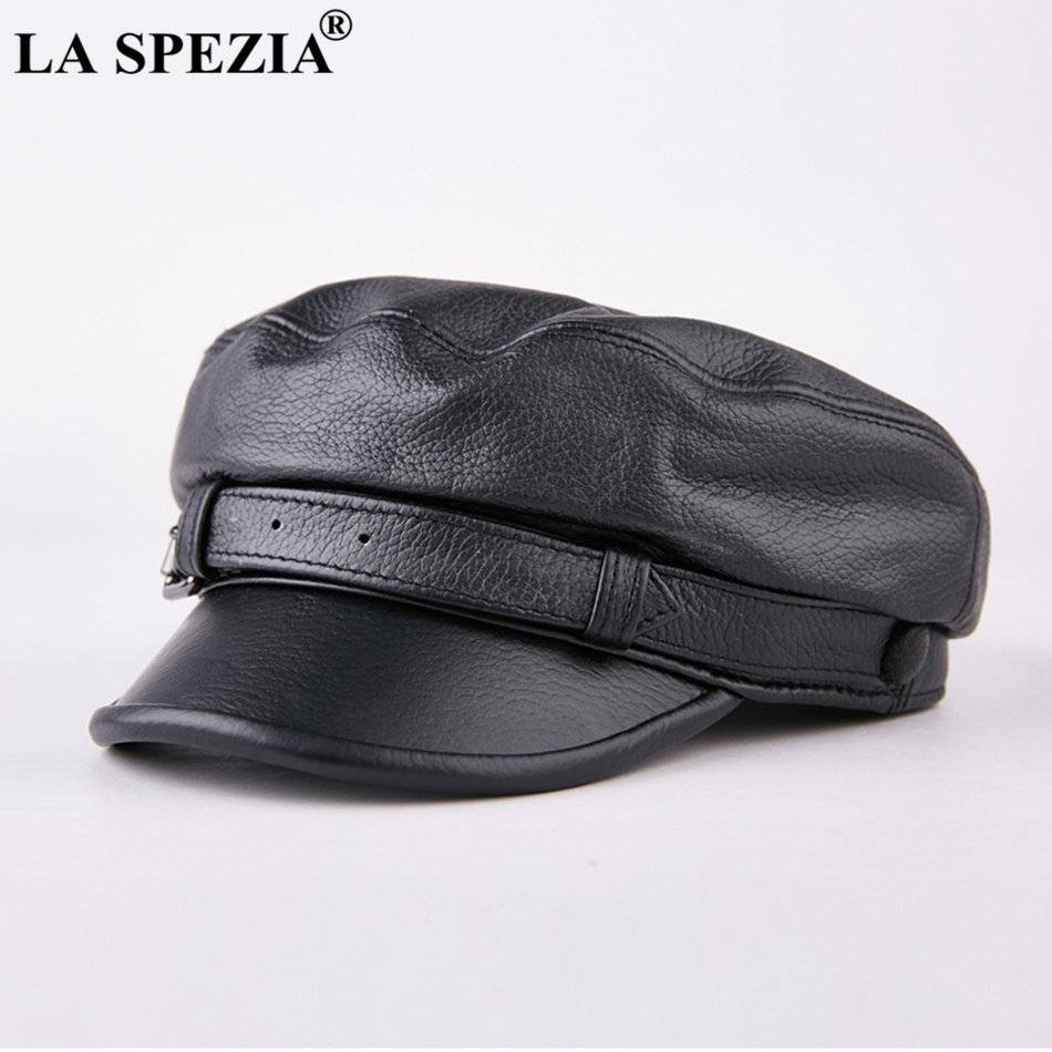 LA SPEZIA Men Army Hat Leather Military Caps Male Casual Black Captain Hats Retro Spring Adjustable Luxury Classic Flat Top Caps