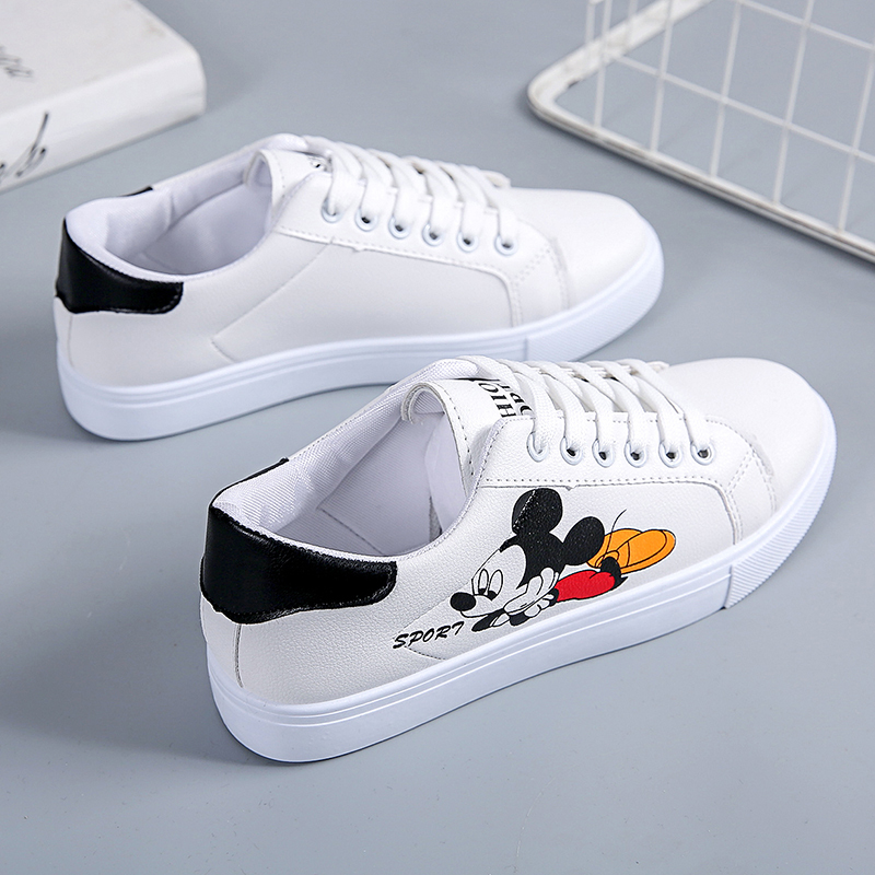 Popular Women's White Shoes Vans Shoes Comfortable Sports Shoes Women's Outdoor Sports Shoes Mickey Mouse Casual Shoes