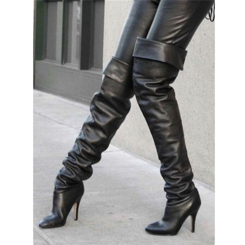 New Sexy Black Thigh High Boots Women PU Leather Plus Size Over The Knee Heeled Boots Pointed Toe High Heels Shoes Women 2019