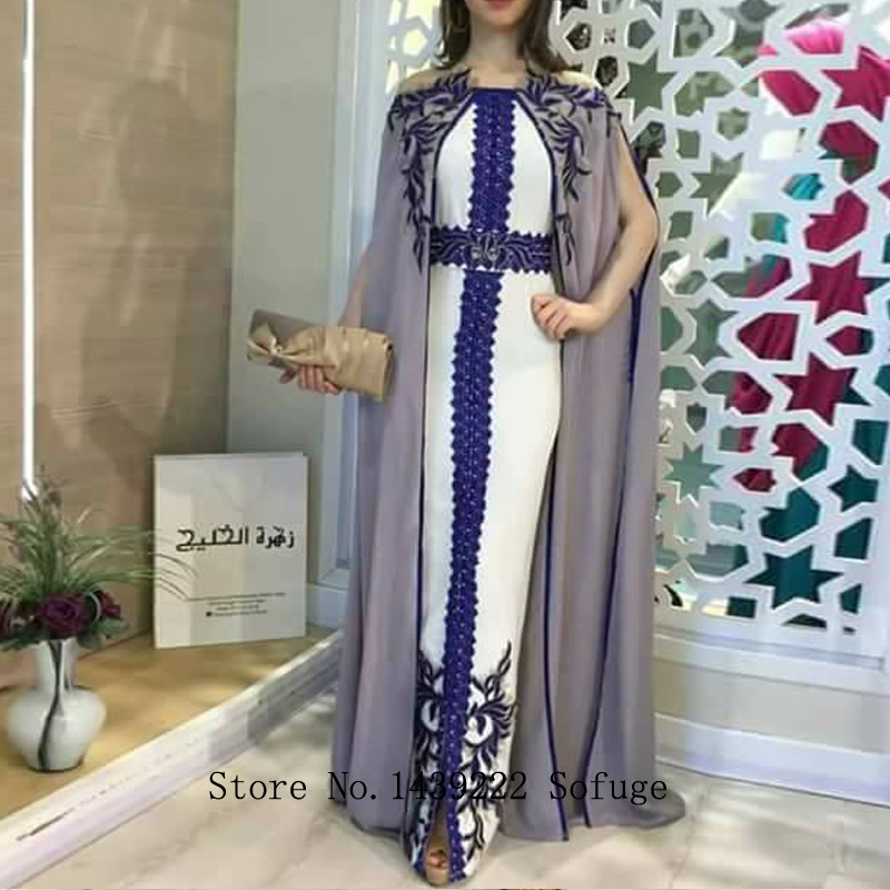 Grey Moroccan Kaftan Evening Dresses Chiffon Cape Lace Appliques Fashion Arabic Muslim Special Occasion Formal Party