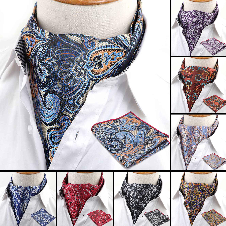 Men's Cravat Pocket Square Set Formal Necktie Hankerchief Ascot Scrunch Self Paisley Polyester Silk Neck Tie Luxury