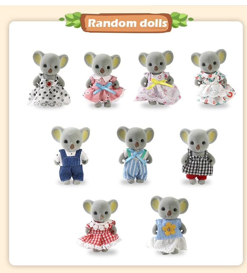 Koala Toy Forest Animal Set DIY Toy Furniture Bedroom Set Halloween Toys Family Model Play House Doll Set for Girl Kids Toys-3