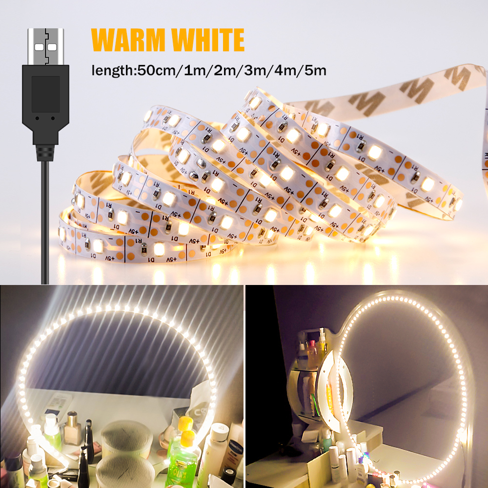 Hollywood Vanity Makeup Mirror Light 5V USB LED Flexible Tape Cable Powered Led Strip Decor Dressing Table mirror Wall Lamp