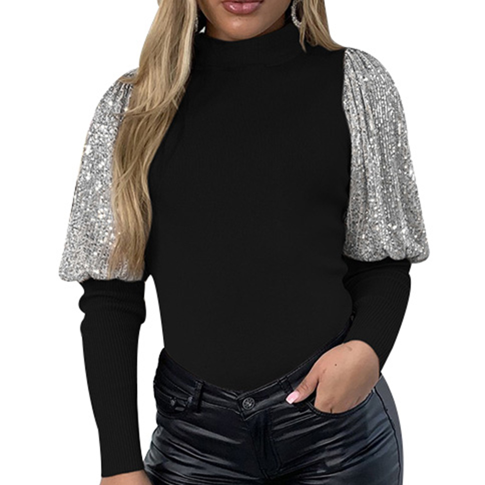 Bling Bling Puff Sleeve Ladies Tops Ruffle Collar Long Sleeve T-shirts Women Casual Sequin Knitted Tshirt Femme Ropa Mujer D30