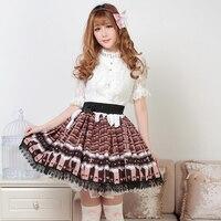 Princess sweet lolita skirts Originally Japanese Chocolate Sweet Princess Pleated Lolita Half length short skirts GZWY134