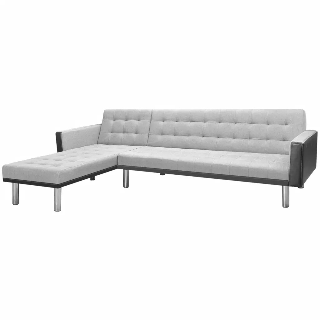 VidaXL Corner Sofa Bed Fabric 218 X 155 X 69cm Black And Gray 244330