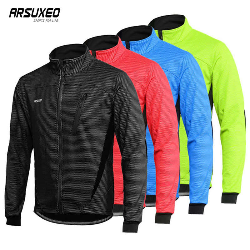 Arsuxeo Fleece Fietsen Jacket Man Winter Thermische Mountainbike Jas Waterdicht Fiets Jas Winddicht Reflecterende Mtb Jas