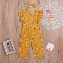 INS Toddler Girls' Jumpsuit Summer New Ruffles Sleeves Floral Jump Suit Baby Clo