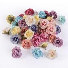 50 pçs mini rosa artificial flor cabeça diy needlework artesanal artesanato suprimentos falso flores para a festa de casamento em casa decoração