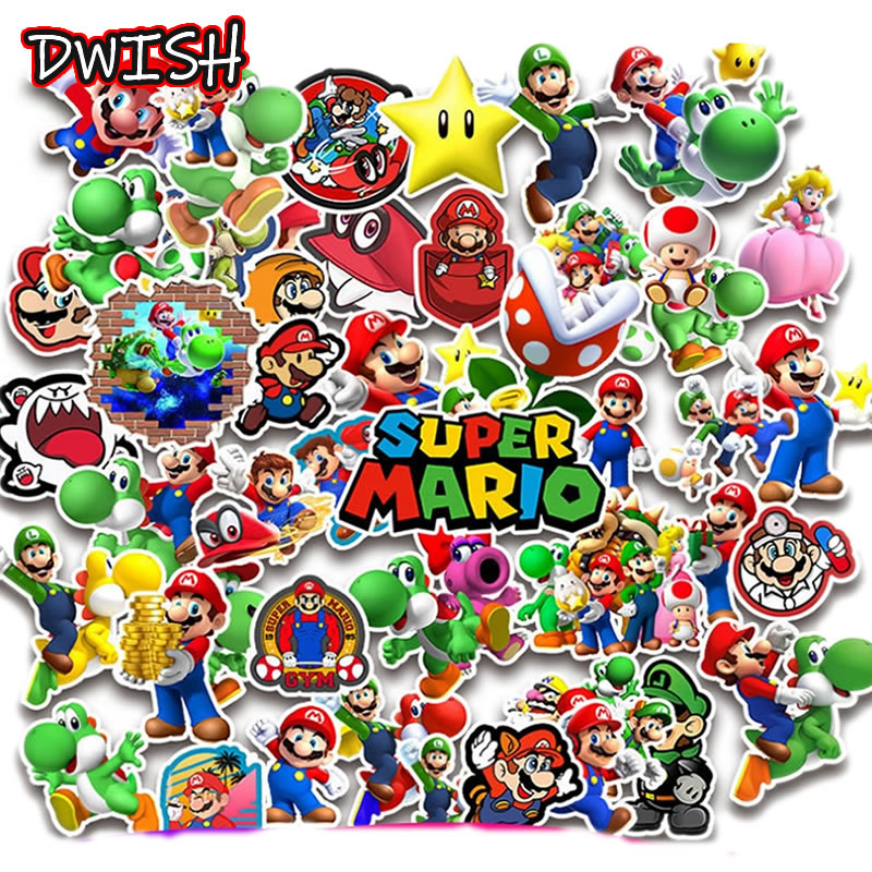 10/30/50pcs Cartoon Super Mario Waterproof Graffiti Stickers Guitar Skateboard Suitcase Girl Children Funny Sticker Classic Toy
