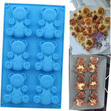 6 구멍 3D 사랑스러운 곰 모양 케이크 곰팡이 실리콘 곰팡이 굽기 공구 부엌 퐁당 케이크 곰팡이 파란 색깔 제빵 용품