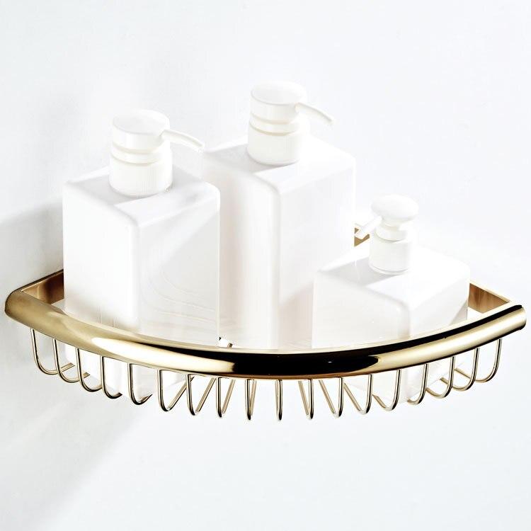 Wholesale Bathroom Hook Unit Bathroom Storage Basket Zirconium Gold Copper Material Corner Basket Single Layer Bathroom Corner B