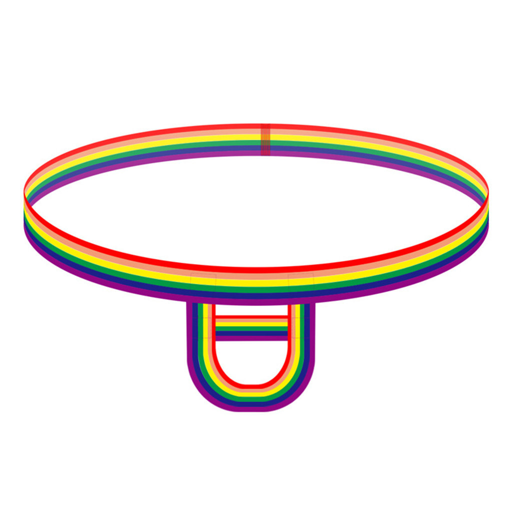 Men's Fashion Sexy Hot Gay Underwear Rainbow Stripes Elasticity Ring Underwear #y2 title=