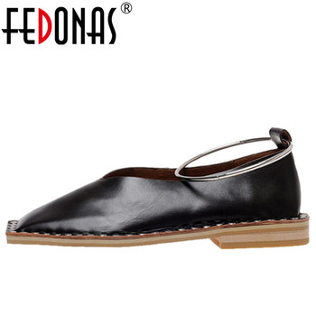 FEDONAS Cool Pumps Women Spring Autumn Genuine Leather Basic Party Shoes Woman Square Toe Shallow Pumps Metal Decoration Shoes